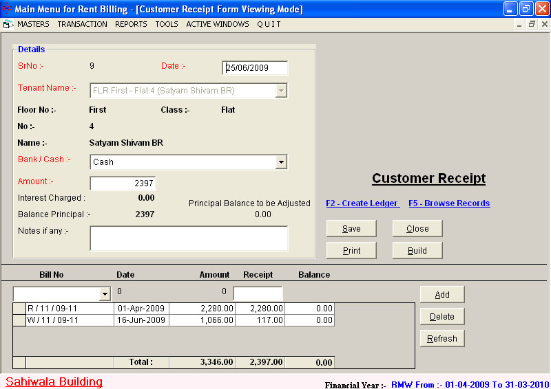 Housing Society Accounting Billing Tenant Software – Tenant Receipt