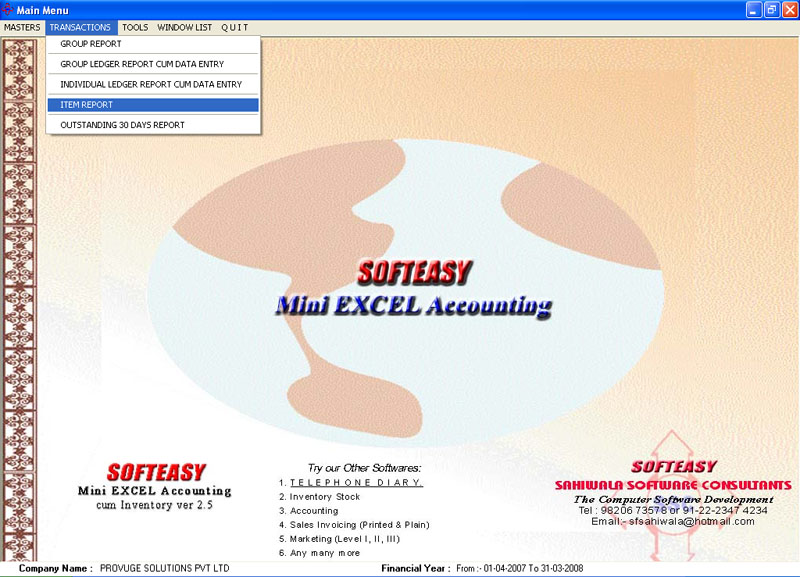 Excel Accounting bookkeeping Software