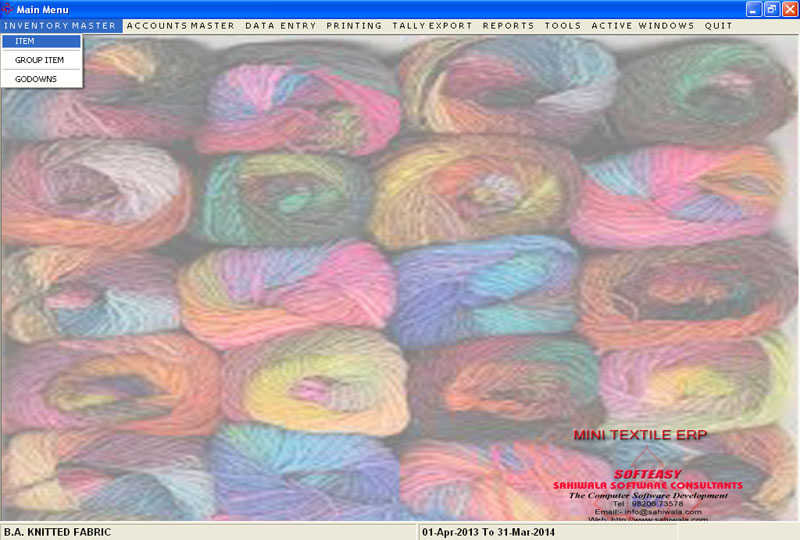 Weaving Textile Fabric Yarn Accounting & Inventory Software