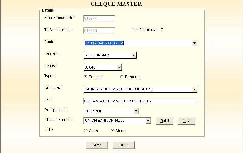 Cheque Voucher Receipt Printing Software