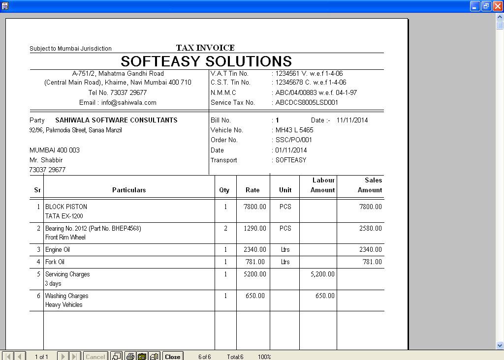 Truck auto vehicle repairs billing software